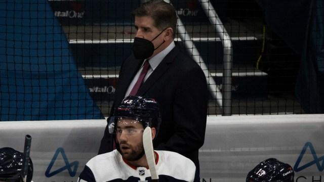 Washington Capitals head coach Peter Laviolette, winger Tom Wilson