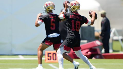 San Francisco 49ers quarterbacks Trey Lance and Jimmy Garoppolo