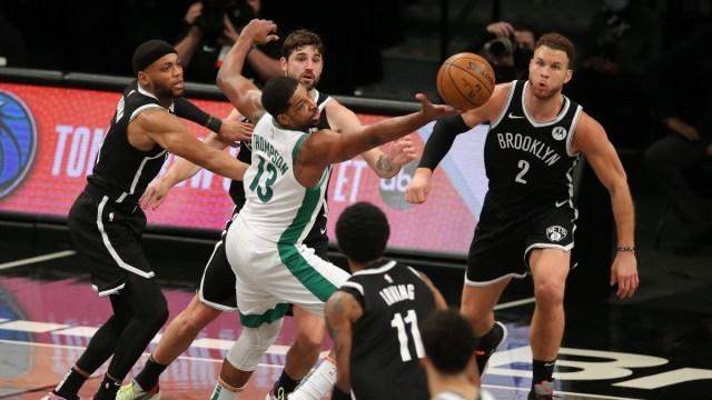 Boston Celtics center Tristan Thompson (13) and Brooklyn Nets players