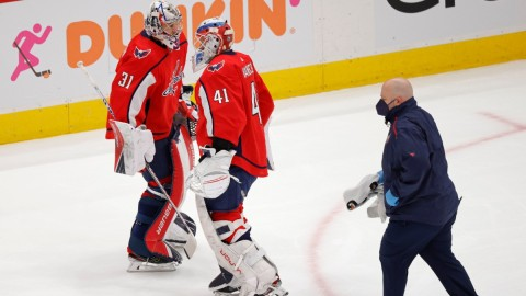 Washington Capitals goalies Vitek Vanecek and Craig Anderson