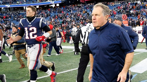 New England Patriots head coach Bill Belichick, Tampa Bay Buccaneers quarterback Tom Brady