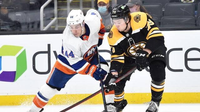 New York Islanders center Jean-Gabriel Pageau, Boston Bruins defenseman Charlie McAvoy