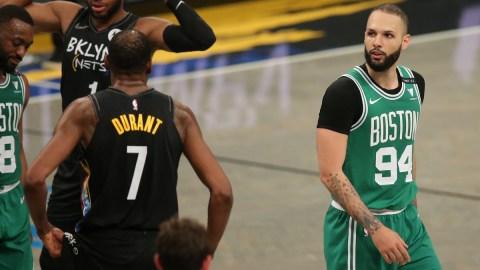 Boston Celtics shooting guard Evan Fournier, Brooklyn Nets power forward Kevin Durant
