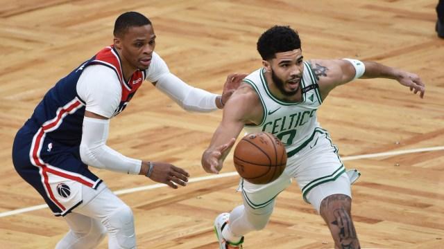 Washington Wizards guard Russell Westbrook, Boston Celtics forward Jayson Tatum