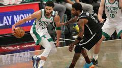 Boston Celtics forward Jayson Tatum and Brooklyn Nets guard Kyrie Irving