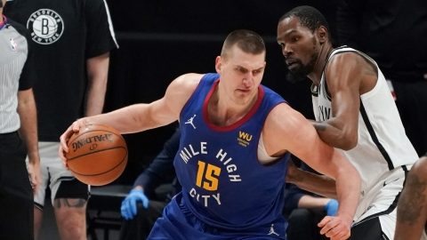 Denver Nuggets center Nikola Jokic, Brooklyn Nets forward Kevin Durant