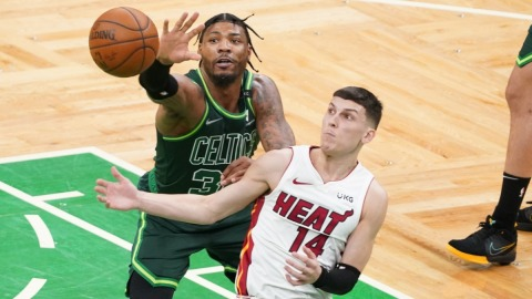Boston Celtics guard Marcus Smart and Miami Heat guard Tyler Herro