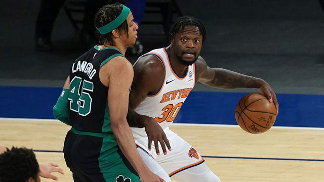 Boston Celtics guard Romeo Langford and New York Knicks forward Julius Randle