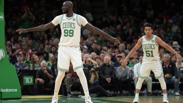 Boston Celtics players Tacko Fall and Tremont Waters