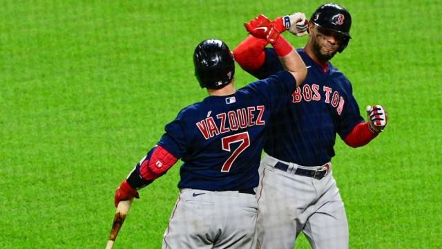 Boston Red Sox shortstop Xander Bogaerts and catcher Christian Vazquez