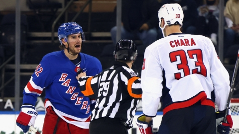 New York Rangers' Brendan Smith, Washington Capitals' Zdeno Chara