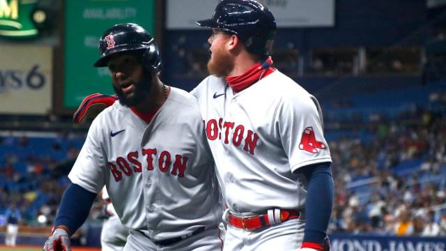 Boston Red Sox outfielders Danny Santana and Alex Verdugo