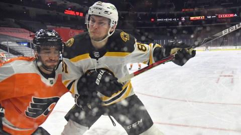 Boston Bruins winger Anton Blidh, Philadelphia Flyers defenseman Shayne Gostisbehere