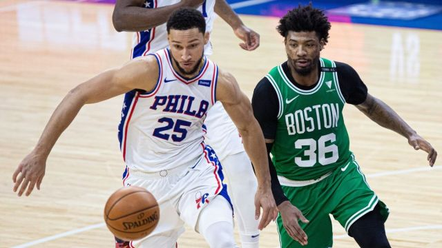 Philadelphia 76ers guard Ben Simmons, Boston Celtics guard Marcus Smart