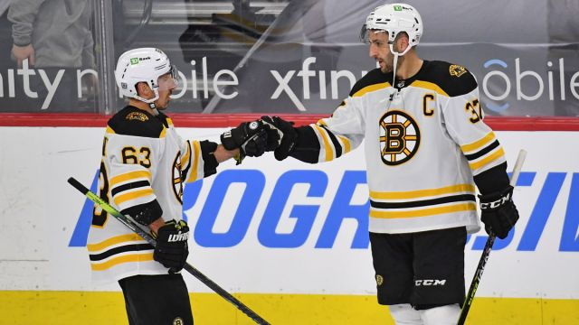 Boston Bruins left wing Brad Marchand and center Patrice Bergeron