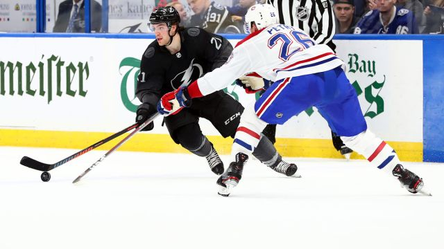 Tampa Bay Lightning center Brayden Point and Montreal Canadiens defenseman Jeff Petry
