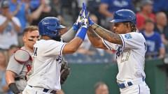 Kansas City Royals Shortstop Adalberto Mondesi And First Baseman Carlos Santana