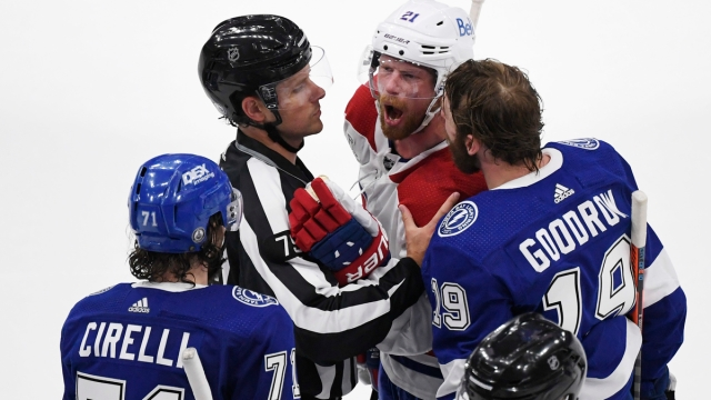 Montreal Canadiens center Eric Staal, Tampa Bay Lightning forwards Barclay Goodrow and Anthony Cirelli