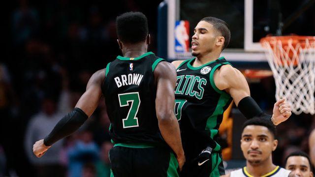 Boston Celtics Players Jaylen Brown and Jayson Tatum of the Boston Celtics