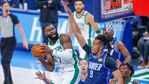 Boston Celtics guard Jaylen Brown and center Moses Brown