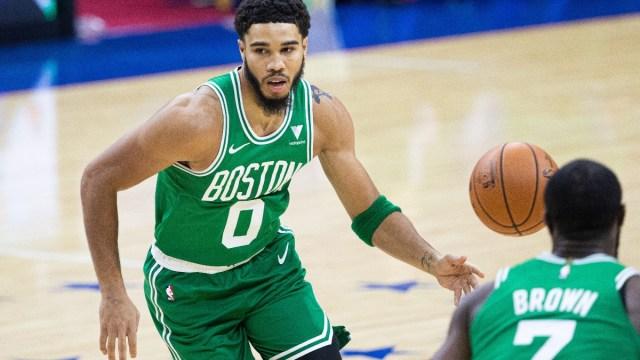 Boston Celtics forwards Jayson Tatum (left) and Jaylen Brown