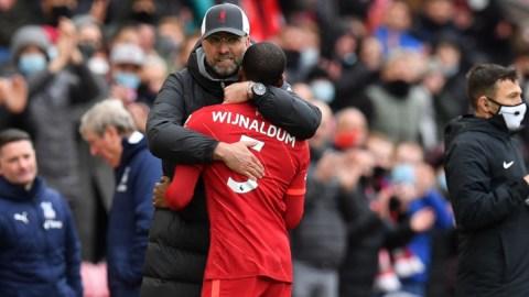 Liverpool manager Jurgen Klopp and former midfielder Georginio Wijnaldum
