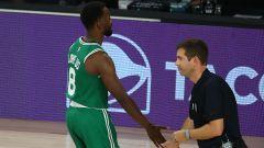 Oklahoma City Thunder guard Kemba Walker and Boston Celtics president of basketball operations Brad Stevens