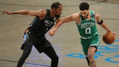 Brooklyn Nets forward Kevin Durant and Boston Celtics forward Jayson Tatum