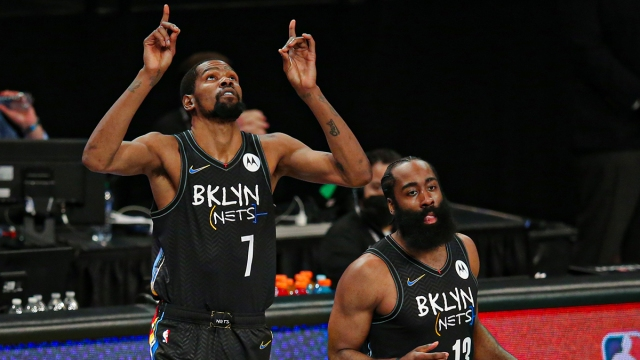 Brooklyn Nets forward Kevin Durant and guard James Harden