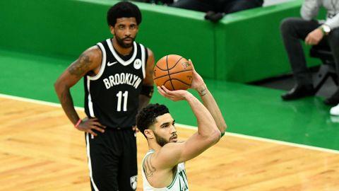 Brooklyn Nets guard Kyrie Irving and Boston Celtics forward Jayson Tatum