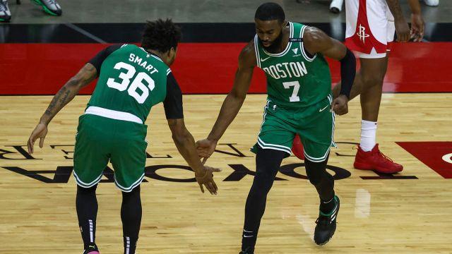 Boston Celtics guards Marcus Smart and Jaylen Brown