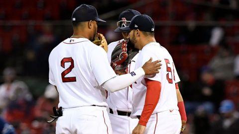 Boston Red Sox starting pitcher Martin Perez, shortstop Xander Bogaerts
