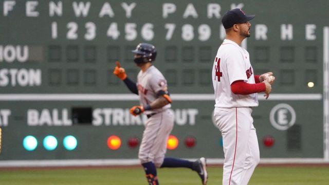 Boston Red Sox pitcher Martin Perez, Houston Astros shortshop Carlos Correa