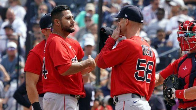 Boston Red Sox pitcher Martin Perez, pitching coach Dave Bush
