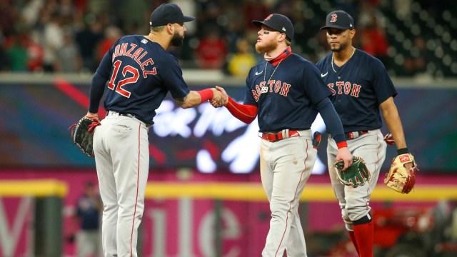 Boston Red Sox Utility Player Marwin Gonzalez (left), outfielder Alex Verdugo (center) and shortstop Xander Bogaerts