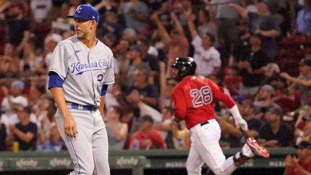 Kansas City Royals pitcher Mike Minor And Boston Red Sox Designated Hitter J.D. Martinez