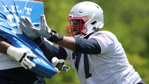 New England Patriots offensive lineman Mike Onwenu