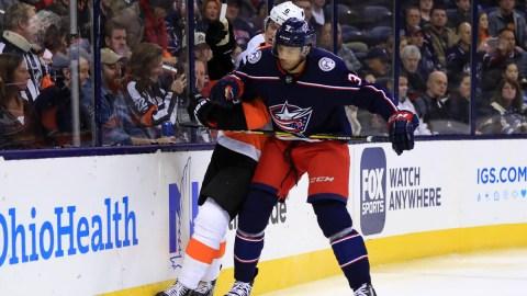 Columbus Blue Jackets defenseman Seth Jones, Philadelphia Flyers defenseman Travis Sanheim