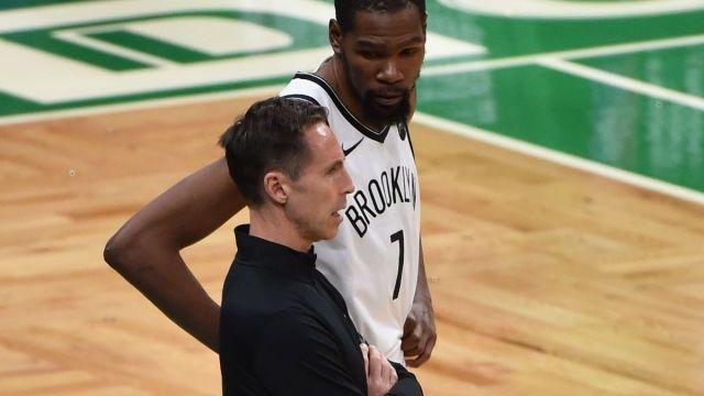 Brooklyn Nets coach Steve Nash, forward Kevin Durant