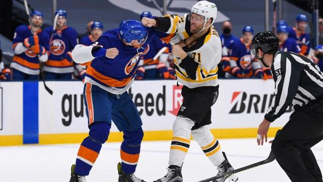 New York Islanders Defenseman Scott Mayfield And Boston Bruins Forward Taylor Hall