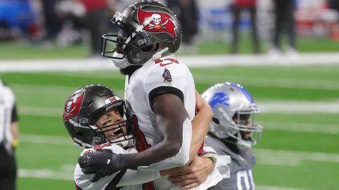 Tampa Bay Buccaneers quarterback Tom Brady and wide receiver Chris Godwin