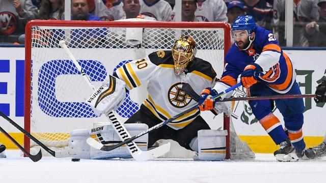 Boston Bruins goalie Tuukka Rask, New York Islanders winger Kyle Palmieri