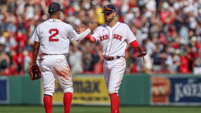 Boston Red Sox shortstop Xander Bogaerts and second baseman Marwin Gonzalez