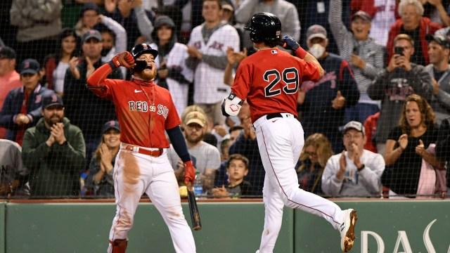 Boston Red Sox third baseman Bobby Dalbec, center fielder Alex Verdugo