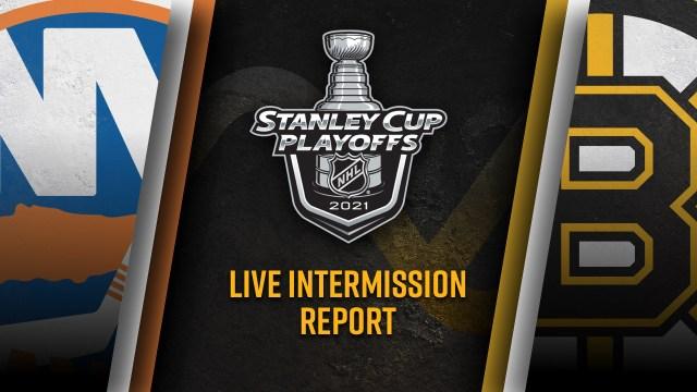Boston Bruins New York Islanders intermission matchup graphic