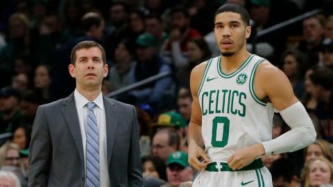 Boston Celtics president of basketball operations Brad Stevens and forward Jayson Tatum
