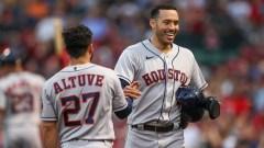 Houston Astros shortstop Carlos Correa, second baseman Jose Altuve