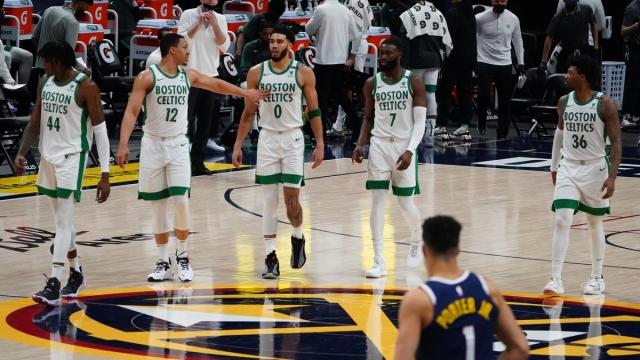 Boston Celtics' Robert Williams, Grant Williams, Jayson Tatum, Jaylen Brown, Marcus Smart