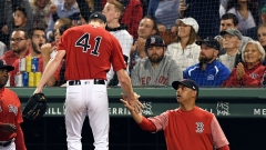 Boston Red Sox starting pitcher Chris Sale, manager Alex Cora
