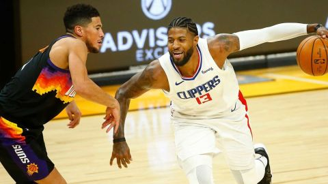 Phoenix Suns guard Devin Booker and Los Angeles Clippers forward Paul George